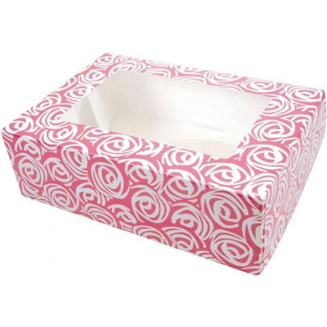 Culpitt Pink Roses Cupcake/Muffin Box - Holds 6