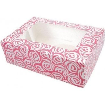 Pink Roses Cupcake/Muffin Box - Holds 6