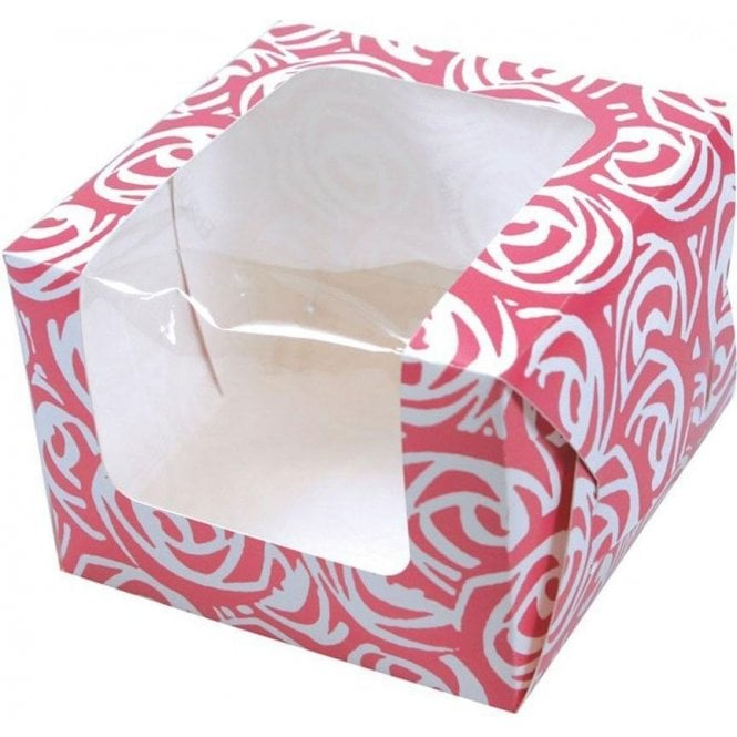 Culpitt Pink Roses Single Cupcake Box with Side Window and Insert
