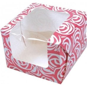 Pink Roses Single Cupcake Box with Side Window and Insert