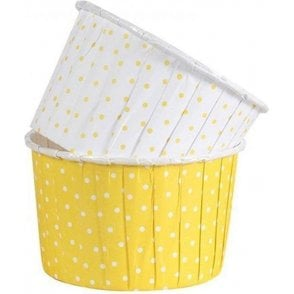 Polka Dot Yellow Baking Cups / Cupcake Cases - 24 per pack