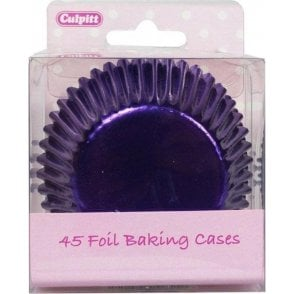 Purple Metallic Foil Baking Cupcake Case - Pack of 45