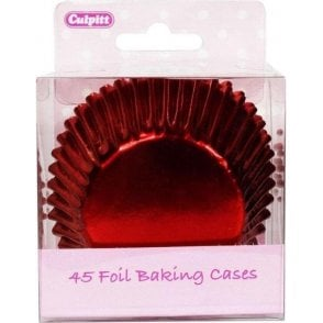 Red Metallic Foil Baking Cupcake Case - Pack of 45