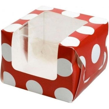 Red Polka Dot Single Cupcake Box with Side Window and Insert