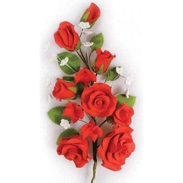 Red Rose Spray - Handmade Gumpaste/Sugar Flower 170mm