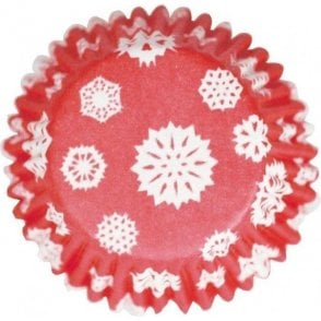 Red Snowflake Baking Cupcake Case - Pack of 54