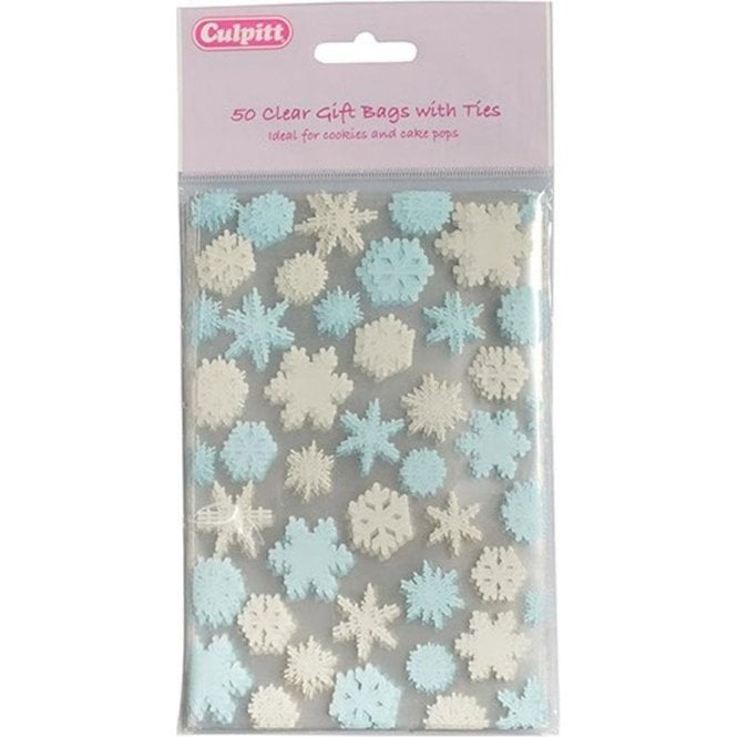Culpitt Snowflake Favour Bag with Ties - 50 pieces