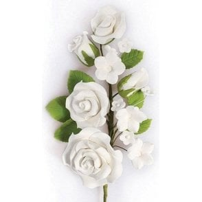 White Rose Spray - Handmade Gumpaste/Sugar Flower 145mm