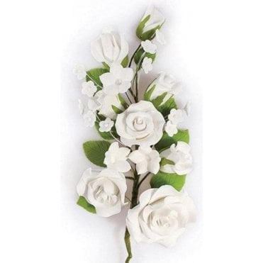 White Rose Spray - Handmade Gumpaste/Sugar Flower 170mm