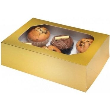 Glossy Gold Cupcake Box with Window - Holds 6 Cupcakes (pack of 2)