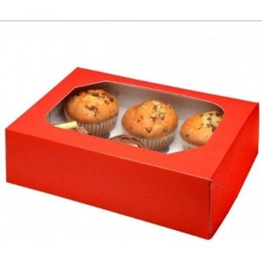 Glossy Red Cupcake Box with Window - Holds 6 Cupcakes (pack of 2)