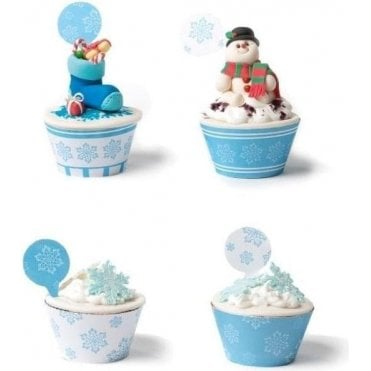 Frozen Christmas Star with Picks - 12 Cupcake Kit