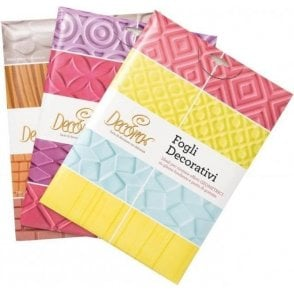 Set of 3 - Textured Impression Mat Sheets Geometric, Fashion & Nature, 4 count per pack