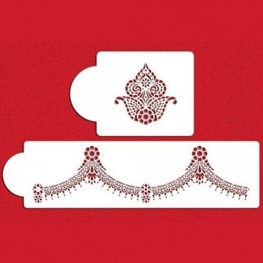 Meenakari Jewellery Inspired - Designer Cake Decorating Stencil