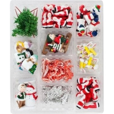 120 Piece Assorted Christmas Decorations, In a Display Box