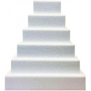 "3"" Deep Square Chamfered Edge Polystyrene Cake Dummies"