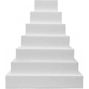 "3"" Deep Square Straight Edge Polystyrene Cake Dummies"