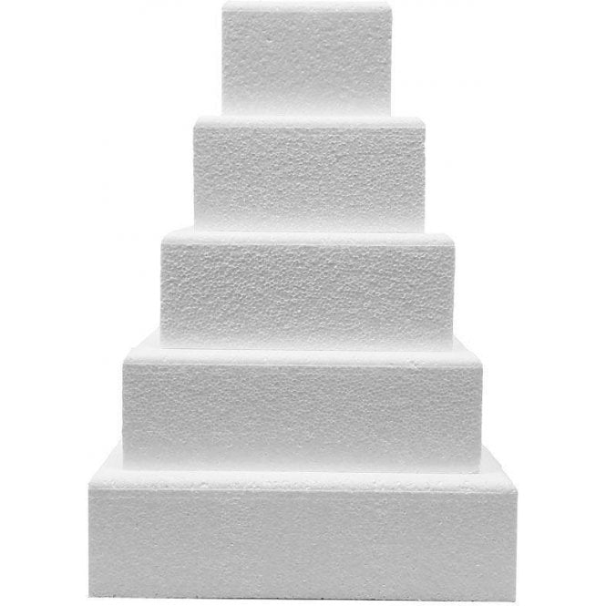 "Dummy Deco 4"" Deep Square Chamfered Edge Polystyrene Cake Dummies"