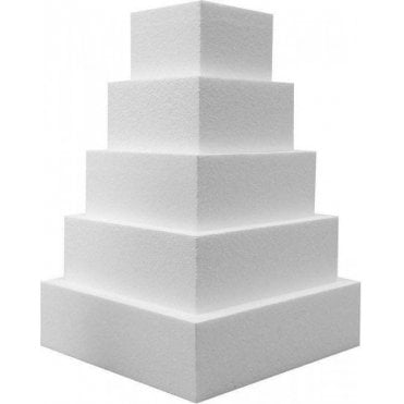 "4"" Deep Square Straight Edge Polystyrene Cake Dummies"