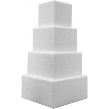 "6"" Deep Square Chamfered Edge Polystyrene Cake Dummies"