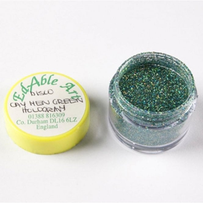 Edable Art Cay Men Green Hologram - Disco Decorating Glitter