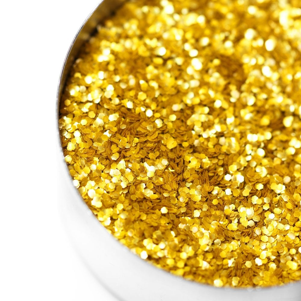 *BULK JAR 115g* GOLD METALLIC GLITTER EDIBLE HEXAGONS (VEGAN)