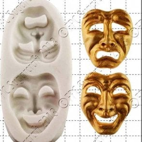 Comedy and Tragedy Masks - Cake Decorating Silicone Mould