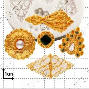 Filigree Brooches - Cake Decorating Silicone Mould