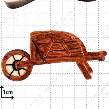 Hand Sculpted Wooden Wheelbarrow - Cake Decorating Silicone Mould