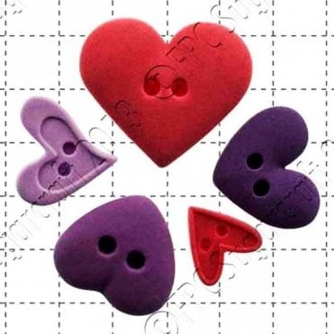 Heart Buttons - Cake Decorating Silicone Mould