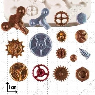 Steampunk Cogs & Gears - Cake Decorating Silicone Mould