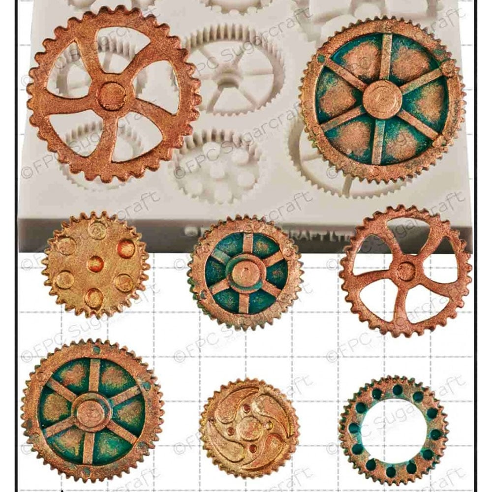 steampunk gear cogs gears cake decorating silicone mould by fpc moulds
