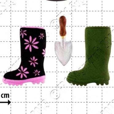 Wellington Boot & Trowel - Cake Decorating Silicone Mould