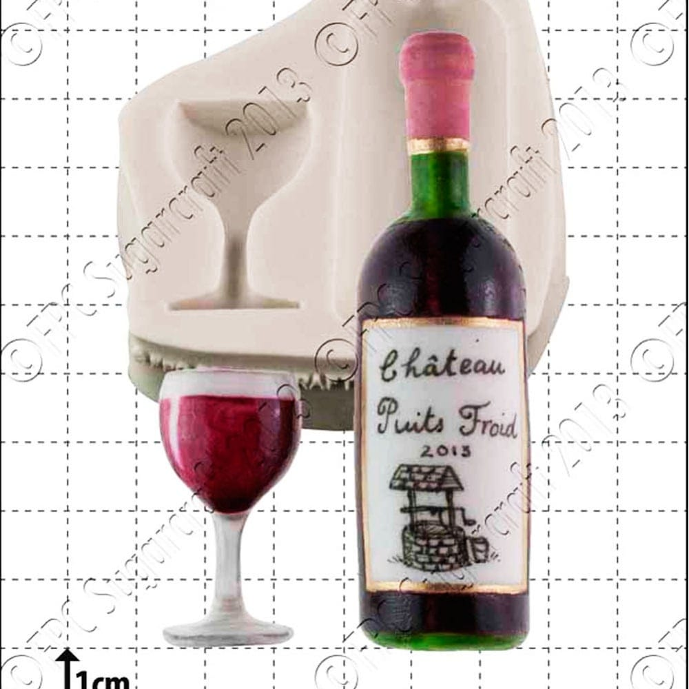 Cake Decorating Wine Bottles : Wine Bottle & Glass Cake Decorating Silicone Mould by FPC ...