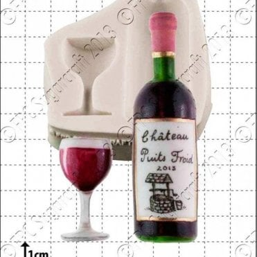Wine Bottle & Glass - Cake Decorating Silicone Mould
