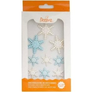 Frozen Star Sugar Royal Icing Decorations Mixed Sizes - 9 Count