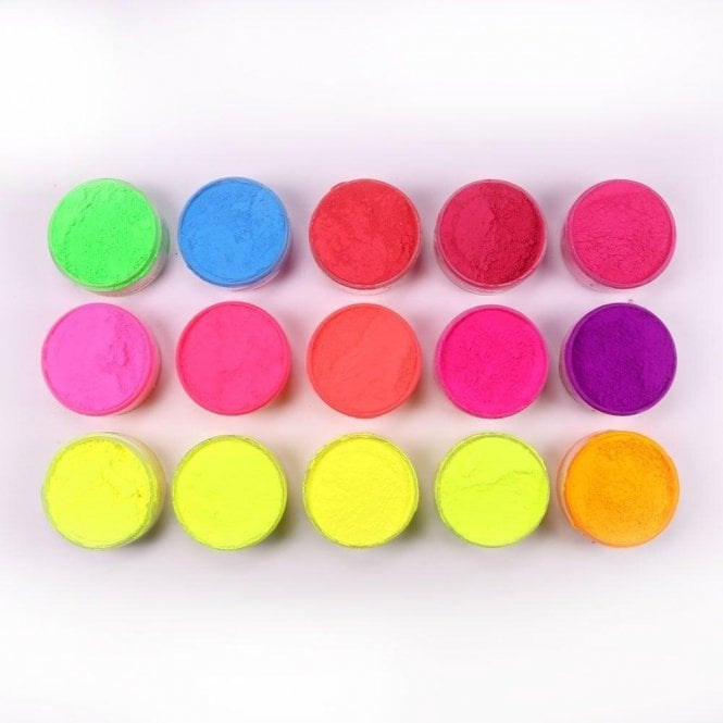 Rolkem FULL SET of 15 - Rolkem Neon/Lumo/Luminosity 'Glow in the Dark' Edible Dusting Colours - Choose Your Sizes