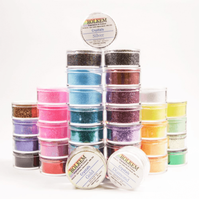 Rolkem FULL SET of 35 - Rolkem CRYSTALS Edible Glitter Colours for a 'Sparkling' Finish 10g