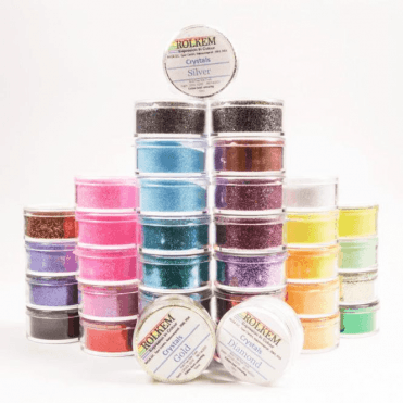 FULL SET of 35 - Rolkem CRYSTALS Edible Glitter Colours for a 'Sparkling' Finish 10g