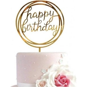 "Geometric Metallic Gold ""Happy Birthday"" Acrylic Cake Topper"