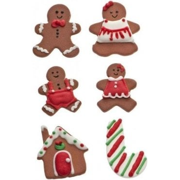 Gingerbread Man Sugar Royal Icing Decorations Mixed Sizes - 6 Count
