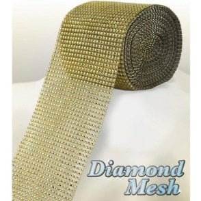 Gold Diamond Glam Rhinestone Ribbon/Wrap - available by the metre
