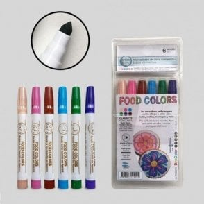 Classic Set 2 - Edible Food Colouring Marker Pen Felt Tip Set of 6