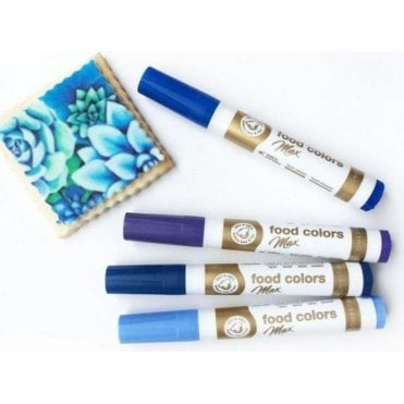 Shades of Blue - Edible Food Colouring Marker Pen Felt Tip Set of 4