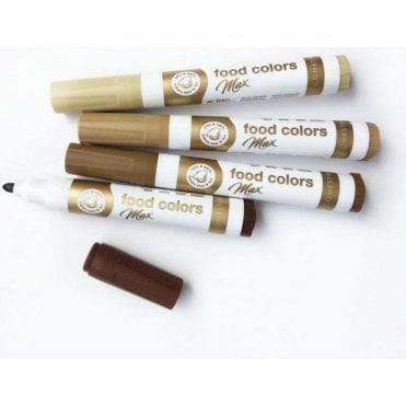 Shades of Brown - Edible Food Colouring Marker Pen Felt Tip Set of 4