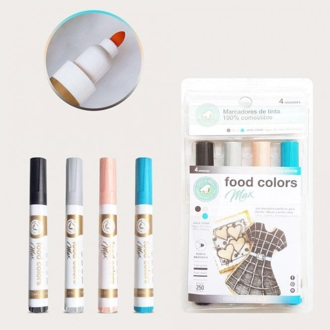 Gourmet Food Pens Shades of Fashion - Edible Food Colouring Marker Pen Felt Tip Set of 4