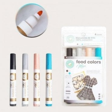 Shades of Fashion - Edible Food Colouring Marker Pen Felt Tip Set of 4