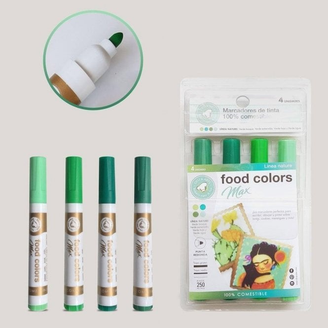 Gourmet Food Pens Shades of Green - Edible Food Colouring Marker Pen Felt Tip Set of 4