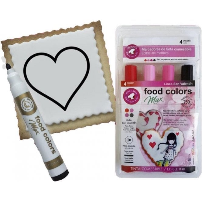 Gourmet Food Pens Shades of Love - Edible Food Colouring Marker Pen Felt Tip Set of 4