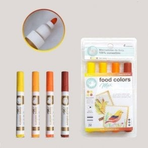 Shades of Sunset Yellow - Edible Food Colouring Marker Pen Felt Tip Set of 4